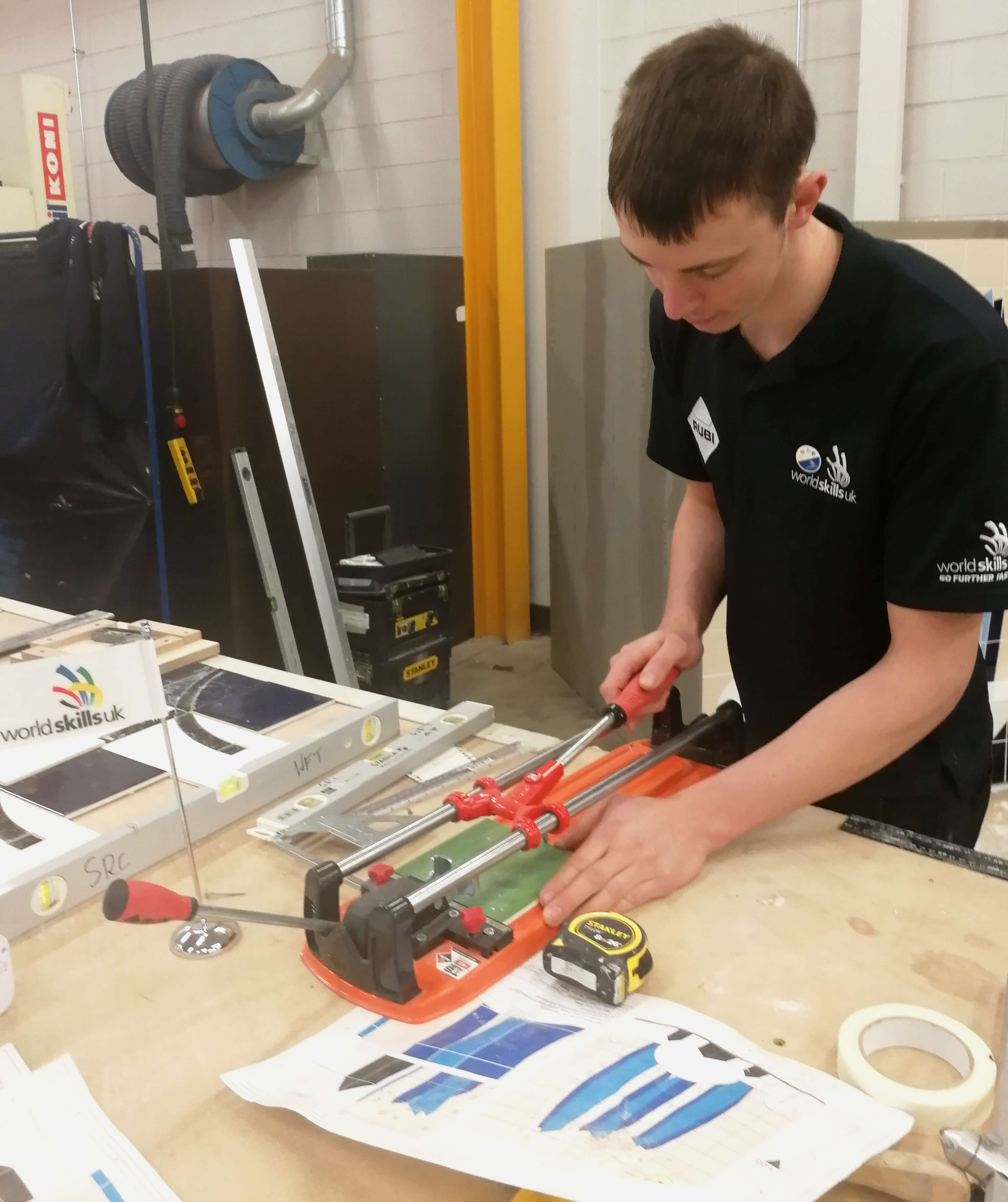 Mark Scott using a RUBI Manual Cutter during the team selection to represent UK at WorldSkills Kazan 2019.